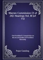 도서 이미지 - Warren Commission (3 of 26): Hearings Vol. III (of 15)