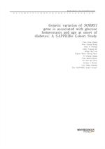 도서 이미지 - Genetic variation of SORBS1 gene is associated with glucose homeostasis and age at onset o