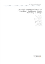 도서 이미지 - Challenges and Opportunities for Emergency Department Sepsis Screening at Triage