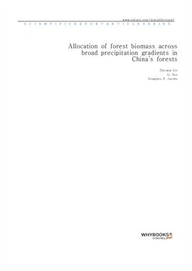 도서 이미지 - Allocation of forest biomass across broad precipitation gradients in China's forests