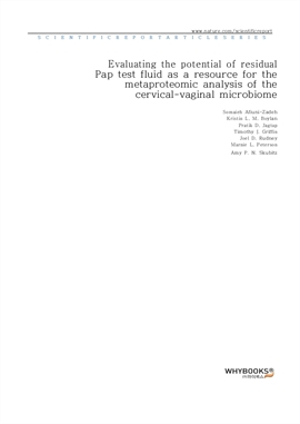 도서 이미지 - Evaluating the potential of residual Pap test fluid as a resource for the metaproteomic an