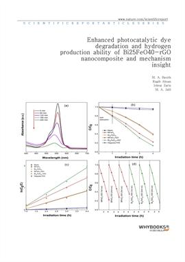 도서 이미지 - Enhanced photocatalytic dye degradation and hydrogen production ability of Bi25FeO40-rGO n