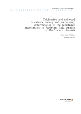 도서 이미지 - Trichlorfon and spinosad resistance survey and preliminary determination of the resistance